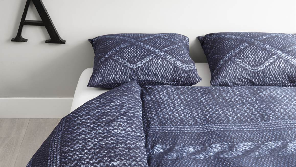 At home wools flanel dekbedovertrek in de kleur navy